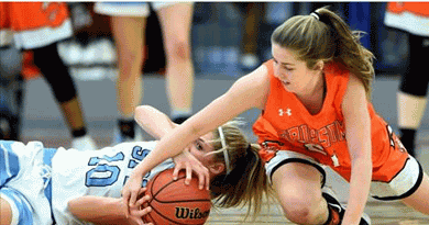 fighting for a loose ball